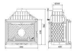 camino misure focolare caminetto a legna s 10 valvola fumi