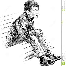 boy on bench stock photo image of reverie drawn isolated 31517830