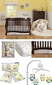 Owls Crib Bedding Yellow Gray Owl Neutral Baby Boy Nursery 8pc Crib Bedding