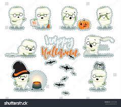 happy halloween funny images patch sticker happy halloween set cute stock vector 473079460