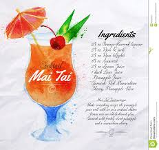 old fashioned cocktail drawing mai tai cocktails watercolor stock vector image 42500423