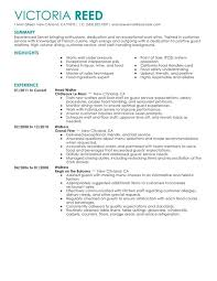 My Perfect Resume Examples by Server Resume Sample Jennywashere Com