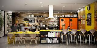 multi level kitchen island design neon yellow kitchen in open layout home glossy modern