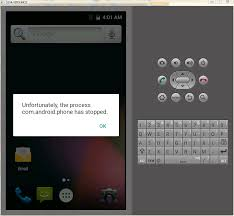 unfortunately the process android phone has stopped java android emulator unfortunately the process android