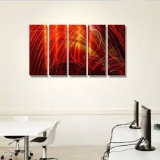 Wholesale Wall Decor Ruby Sky Red Gold And Purple Metal Wall Art 5 Panel Wall