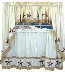 Red Kitchen Curtain by Amazon Com Country Stars Ecru Red 36 U0027 U0027 Tier Pr Kitchen