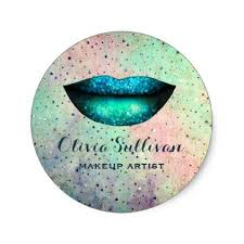gifts for makeup artists chic blue mermaid makeup artist classic sticker