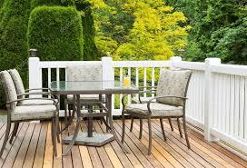 outdoor furniture on cedar wood patio during nice day u2014 stock