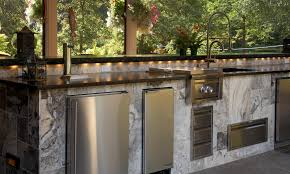 amazing l shaped brown stone outdoor kitchen island design chrome full size of kitchen marvelous rectangle white granite outdoor kitchen island design built in refrigerator