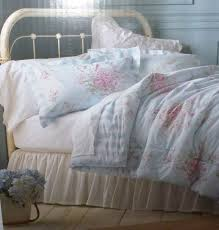 White Iron Headboard Minimalist Bedroom With Shabby Chic Comforter Cottage Blue