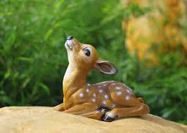 1 pair garden ornaments resin sculptures miniature deer figurines