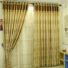 Blackout Yellow Curtains Spun Gold Blackout Jacquard Artificial Fiber Bedroom Curtains