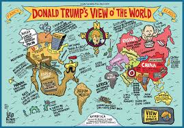 New Zealand On World Map A Map Of The World According To Donald Trump U2013 Land Of Maps