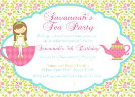 Invitation Birthday Party Card Tea Birthday Party Invitations Cimvitation