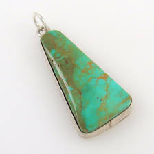 Rs Handmade - navajo handmade sterling silver royston turquoise pendant elmer