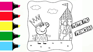 peppa pig princess сastle coloring book pages video for kids with