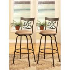 Counter Height Bar Stool Bronze Finish Scroll Back Adjustable Metal Swivel Counter Height