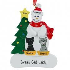 cat 2 cats snowman ornament personalized ornaments
