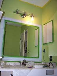 Old Bathroom Mirror Makeover Decorative Paint Frame Without