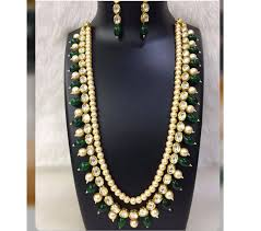 gemstone necklace sets images Buy kundan and pearl necklace set with green onyx gemstones online jpg