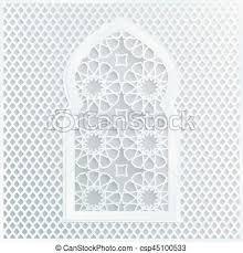 white arabic ornamental mosque window vector illustration