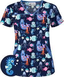 ua sea paparazzi navy 4 pocket scrub top pediatric scrubs