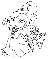 Dora Went To Party With Boots Coloring Pages Dora Coloring Pages Princess Stencil Free Coloring Sheets