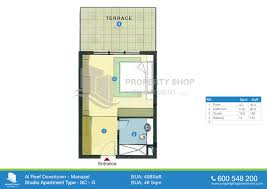 floor plan of al reef downtown al reef village studio type c 498 sqft