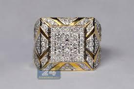 large diamonds rings images Mens diamond large square pinky ring 14k yellow gold 3 69 ct jpg