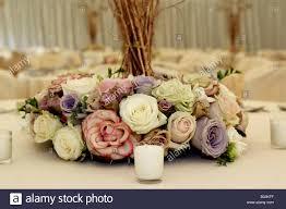 horizontal wedding reception table flower decoration display or