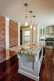 exposed brick wall contemporary kitchen design