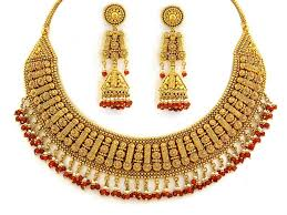 gold jewellery designs 22kt designer necklace set sn0100