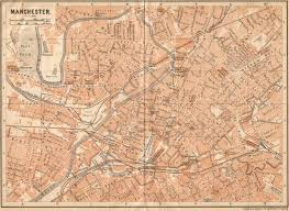 Lancashire England Map by Baedekers Old Guide Books Manchester Lancashire England 1910