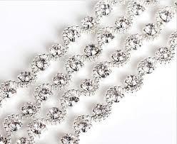1 yard sparkle rhinestones wave silver plated ribbon