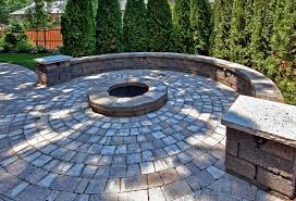 Patio Half Wall Seating Wall Around Fire Pit Round Designs
