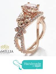 Amazon Wedding Rings by Unique Peach Pink Morganite Engagement Ring 14k Rose Gold Flower