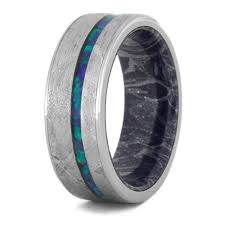 Opal Wedding Ring by Opal Wedding Band Meteorite Ring With Mokume Sleeve 3558