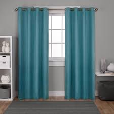 Teal Window Curtains Oxford Teal Textured Sateen Thermal Grommet Top Window Curtain