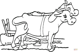 oxen with plow coloring page free printable coloring pages