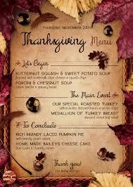 thanksgiving menu templates u2013 happy thanksgiving