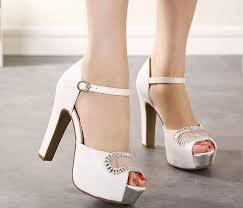 wedding shoes thick heel luxury ivory white glitter wedding shoes sandals bridal