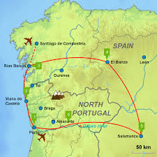 Map Of Portugal And Spain Porto Galicia Salamanca Leon Douro Caminos Touring Holidays