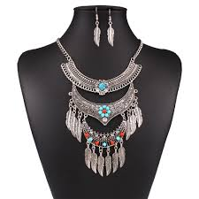 boho stone necklace images Boho ethnic tribal indian antique tibetan silver beaded turquoise jpg