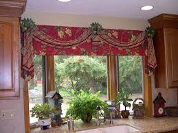 kitchen decorative brown floral kitchen window curtain ideas over