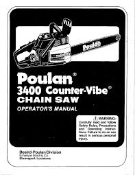 poulan 3400 counter wibe chainsaw owners manual
