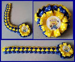 minion ribbon despicable me minion hair bow ribbon bun wrap e8 you choose