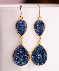 navy blue earrings genuine sapphire navy blue druzy gemstone earrings druzy