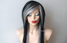 african american silver hair styles scene wig emo wig black gray wig black gray hair long
