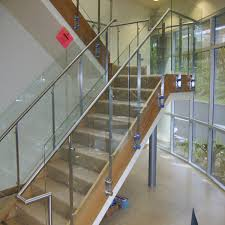 Glass Stair Handrail Tempered Glass Stair Railing With Stainless Steel Baluster