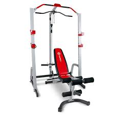 marcy deluxe smith cage w bench md 8851r lat tricep curl pull up